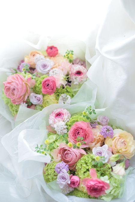 ピンクの愛らしいラナンキュラスの花束♡