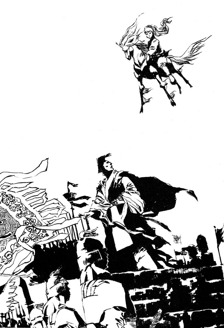 陽子 Youko、景麒 Keiki :『風の万里 黎明の空』:十二国記 Juuni Kokki / Twelve Kingdoms - art by Yamada Akihiro 山田章博
