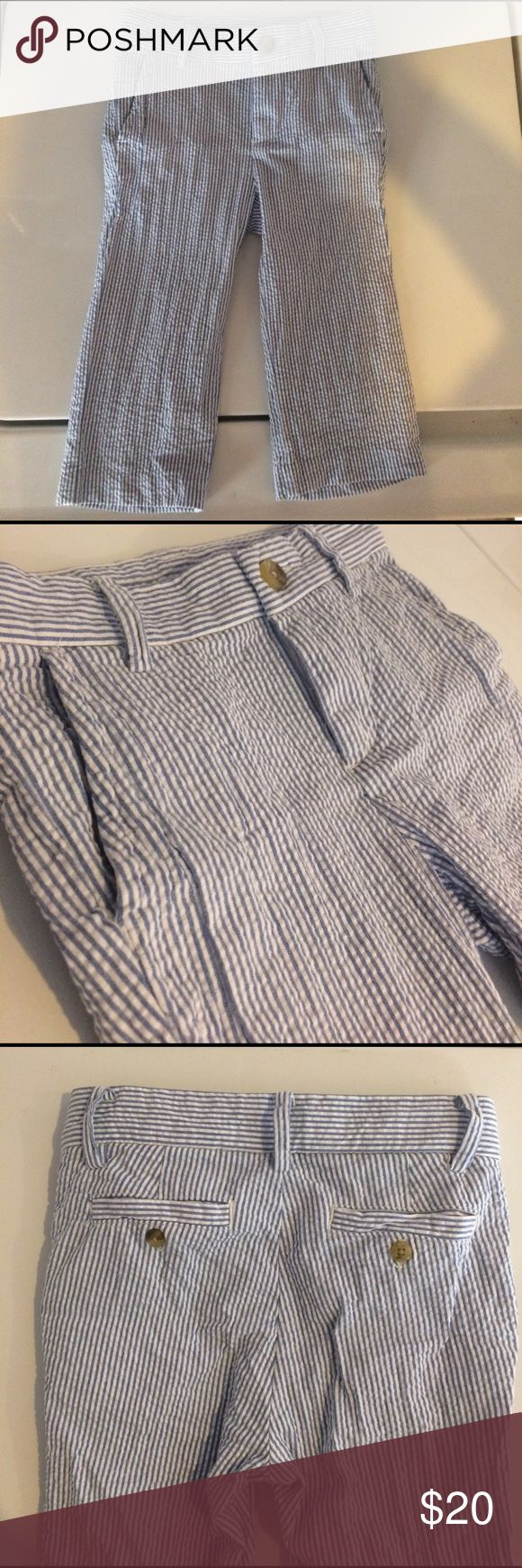 Janie and Jack blue seersucker pants Janie and Jack blue seersucker pants. Like new condition. Elastic band inside waist to make smaller or larger. Janie and Jack Bottoms Casual