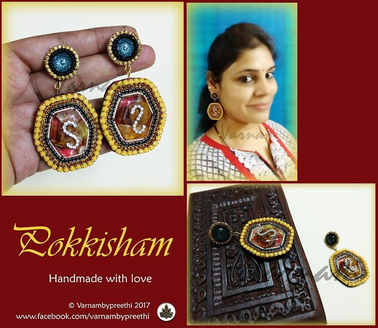We are on a roll!!!!! Code name: Pokkisham (Available) Handcrafted paper based earrings with the centre of preserved resin casted flower petals, seed beads, rhinestones and a such a contrast and quirky handmade stud... :) Isn't it looking gorgeous? #handmadelove #varnambypreethi #pokkisham #chennai #earrings #accessories #resincastedflowers #resin #cabochon #trendy #quirky #handmadejewelry
