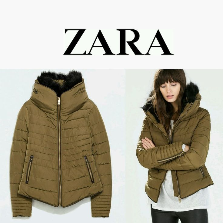 Zara Short Anorak Fur Collar Khaki Puffed Jacket Size M