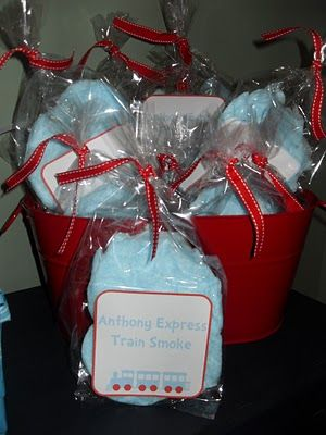 train smoke favors- cotton candy. Would be fun as a Polar Express treat this would be a great favor to put in all the treat bags, who doesn't love cotton candy?
