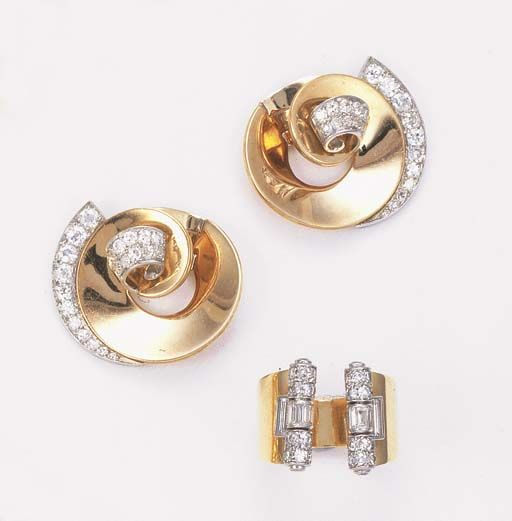 A PAIR OF DIAMOND-SET EARRINGS AND A RING The ring with two single and baguette-cut diamond columns to the slightly expanding broad hoop; the earrings of scroll design with circular-cut diamond line surmount and pavé-set centre, circa 1935 Ring signed Cartier London, no. 1389