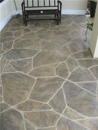 stamped concrete flagstone - replace true flagstone patio for even floor