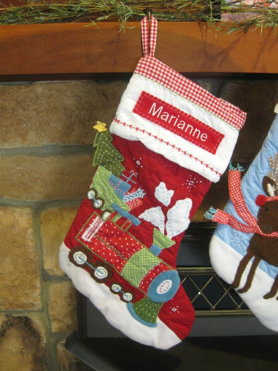 Train Stocking Pottery Barn Quilted Stocking --- RED TRAIN --- Free Monogram