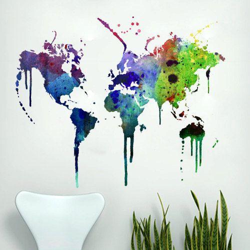 Applicare questa Acquerello mappa del mondo decalcomania in qualsiasi superficie piana (finestre, porte, mobili, pareti). Decor in vinile per la  ...