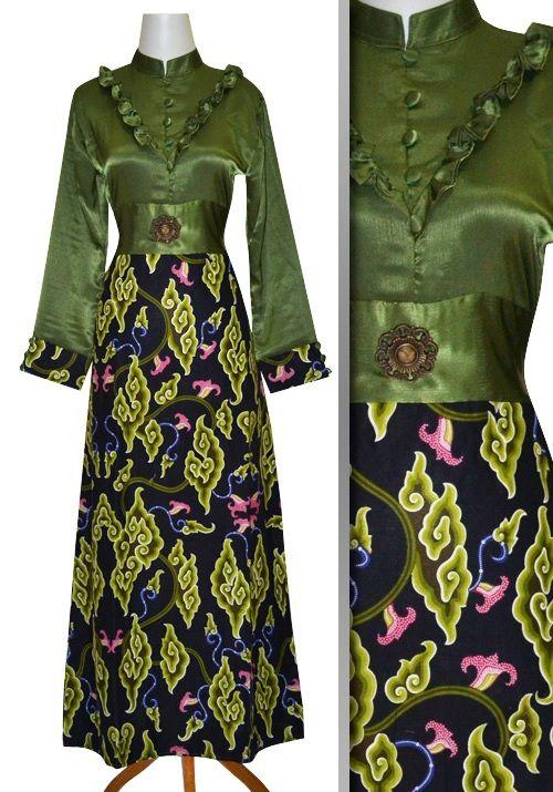 Model Baju Gamis Batik Kombinasi Polos Gamis Terbaru April 2018