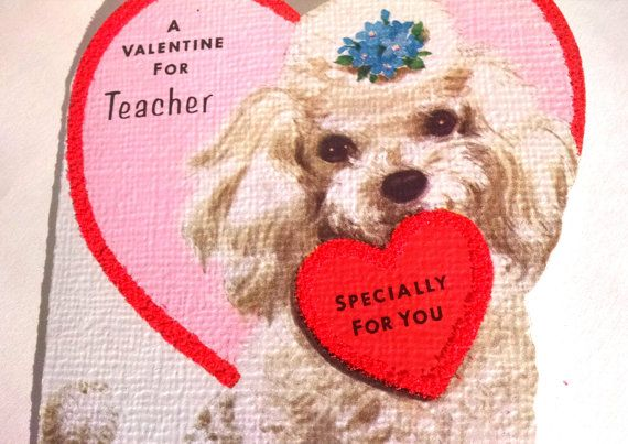 Vintage Valentine Card for Teacher with Hearts by TazamarazVintage
