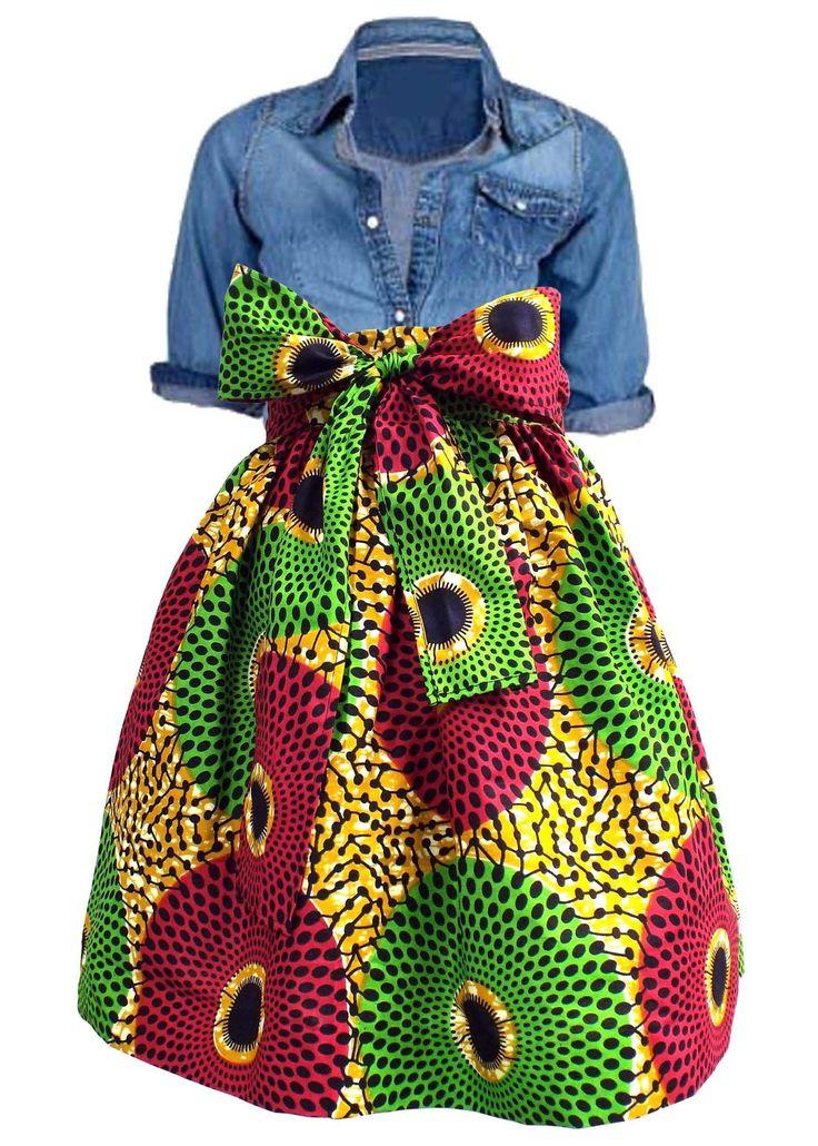 Chioma High Waist African Print Skirts (Gold/Pink/Green)