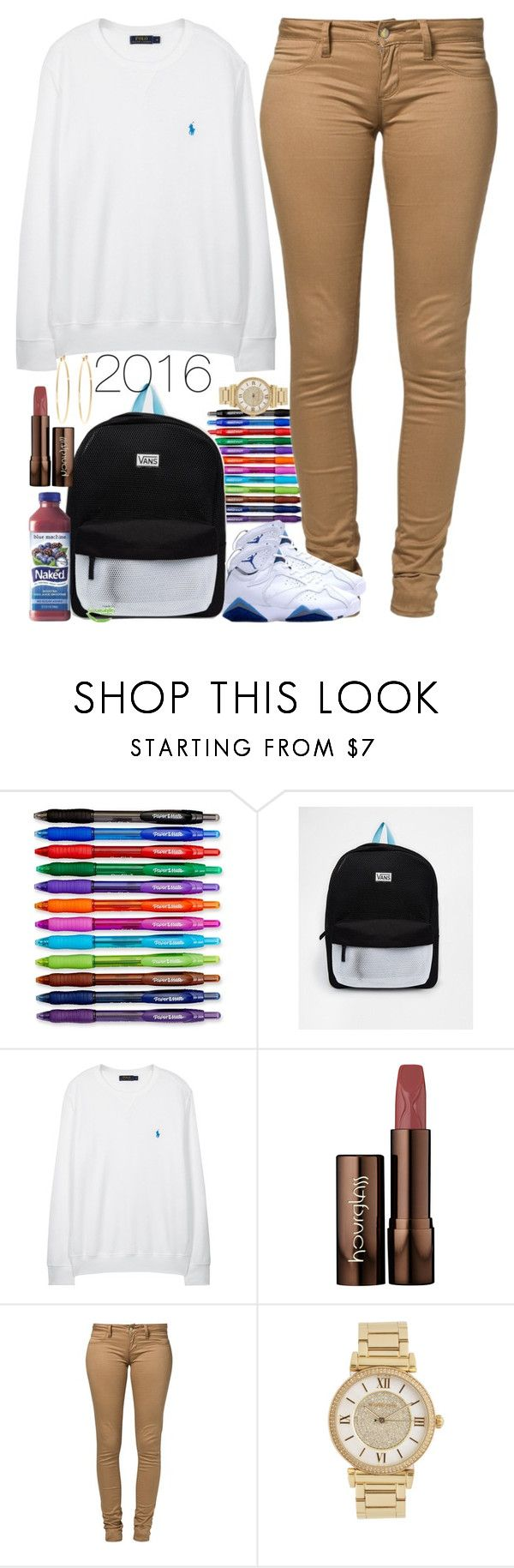 """It's about that time"" by keep-that-ish-trill ❤ liked on Polyvore featuring Paper Mate, Vans, Polo Ralph Lauren, Hourglass Cosmetics, Monkee Genes, Michael Kors and Brooks Brothers"
