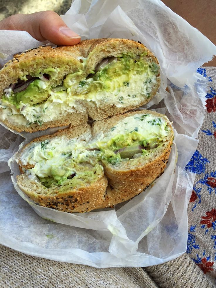 Whole Wheat Everything Bagel, Avocado, Scallion Cream Cheese, Red Onion from La Bagel Delight in Brooklyn