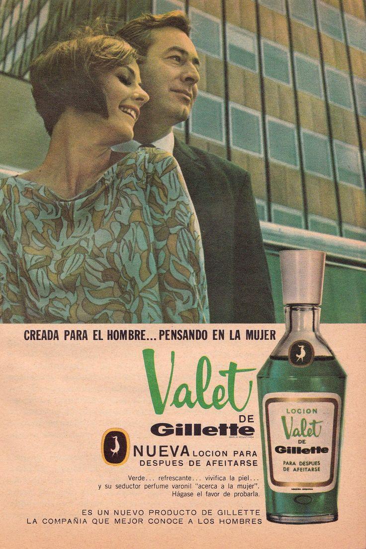 Loción VALET de Gillete, para despues de afeitarse, 1966. Ella es Claudia Sanchez. (Fuente: ARCHIVO PUBLICITARIO/Facebook).