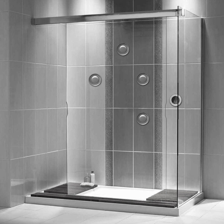 not our bathroom but vertical tile idea that is similar to our tub area tile - Rectangular Bathroom Tiles Horizontal Or Vertical