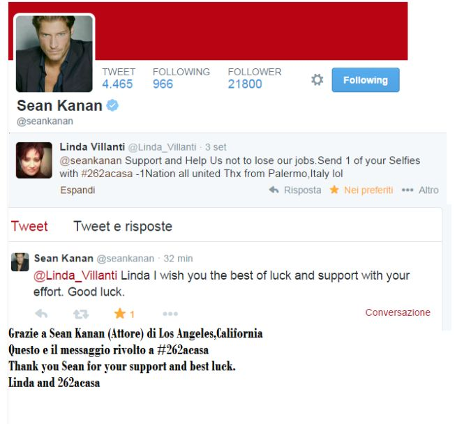 Thanking Sean Kanan for his support and best luck for all.