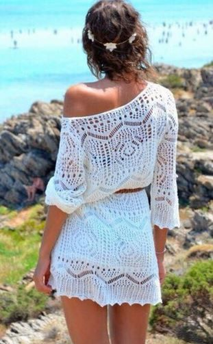 Love this Dress! Boho Chic White Hollow-out Lace Crochet 3/4 Sleeve Knit Lace Beach Dress