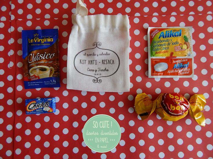 Kit Anti-Resaca! Una opción de souvenir personalizado para sorprender a los invitados! Muy útil también para el día después!