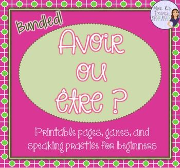 Are you looking for a complete resource to help you teach, reinforce, and assess the verbs avoir and tre? This BUNDLE includes two Scoot games with task cards and Scoot boards, 1 Find someone who activity, plus notes and practice for avoir and tre. You save 20% by buying the bundle!These are for true beginners, so please note that the directions are in English.
