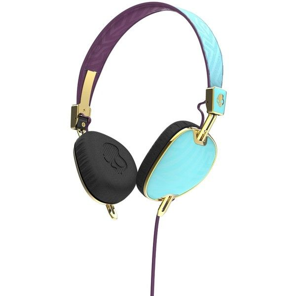 Skullcandy S5AVGM-396 Knockout Women's On-Ear Headphones with Mic... ($47) ❤ liked on Polyvore featuring accessories, tech accessories, skullcandy, gold headphones, skullcandy headphones and purple headphones