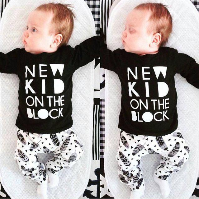2017 Herfst Nieuwe s baby Romper baby boy kleding lange mouwen brief t-shirt + broek pasgeboren baby meisje kleding