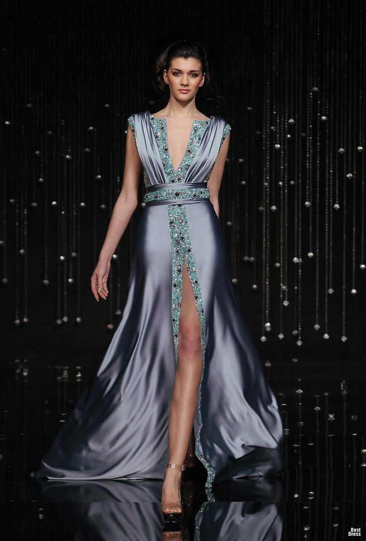 Jean Fares silver purple deep plunge neckline, high cut , embellishment detail