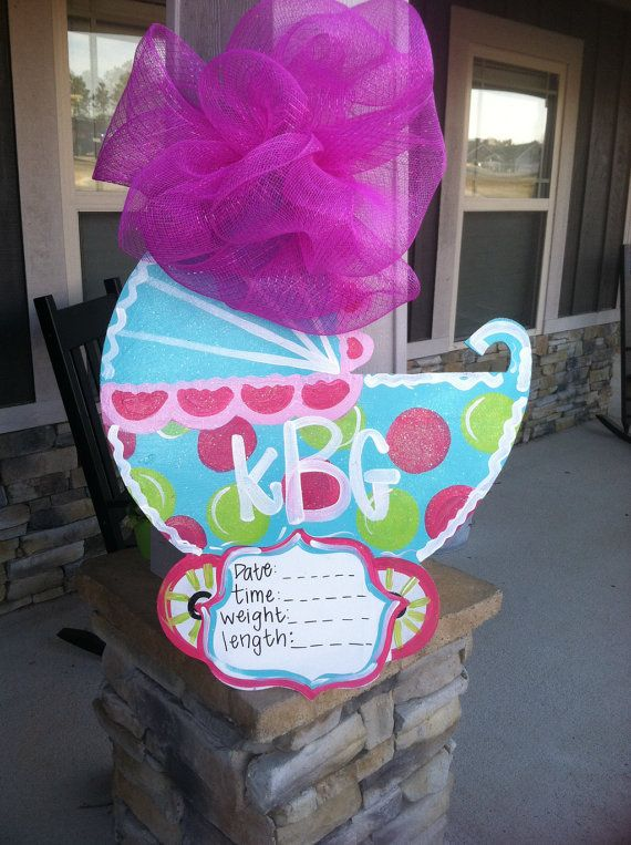 126 best images about bows and bells door hangers on for Baby shower door decoration