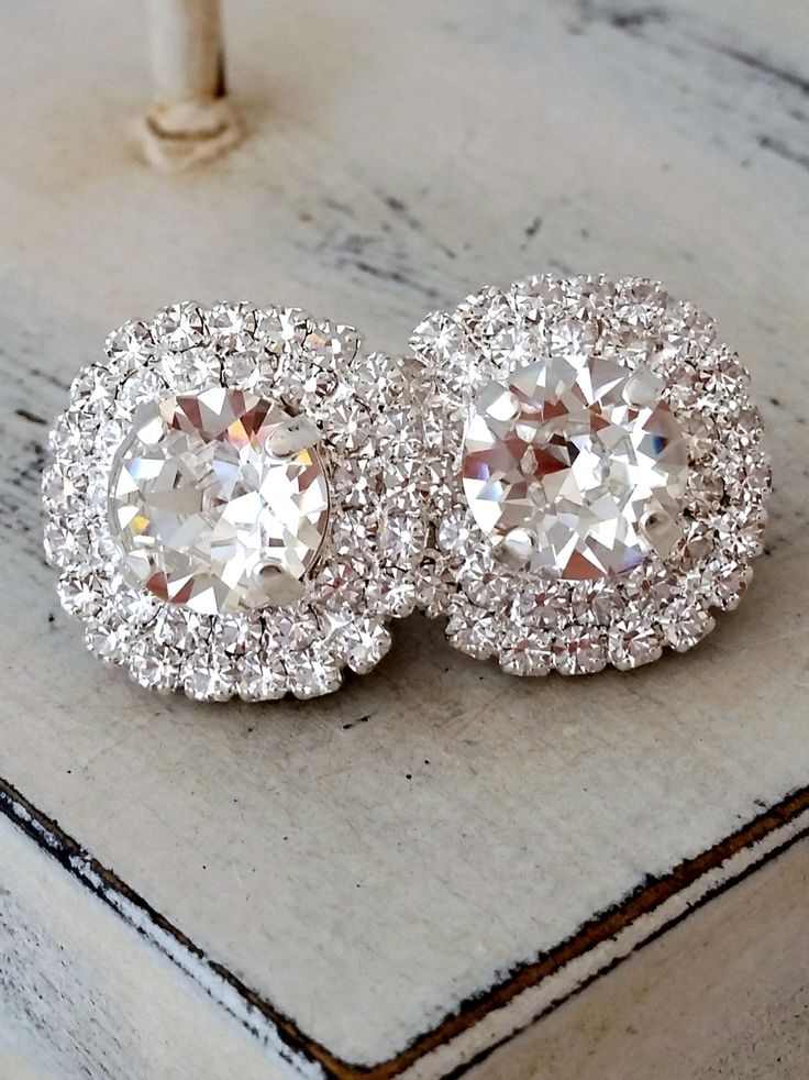 Clear Silver or Gold Swarovski Crystal Large Stud Earrings, Rhinestone Bridal Wedding Jewelry or Gift for Bridemaid
