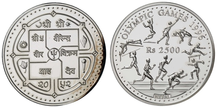 Nepal, 2. 500 Rupees 1995.5 oz silver to the olympic games 1996, capsule jumped, minimal beschlagene PP    Dealer  Auction house Ulrich Felzmann    Auction  Minimum Bid:  120.00 EUR