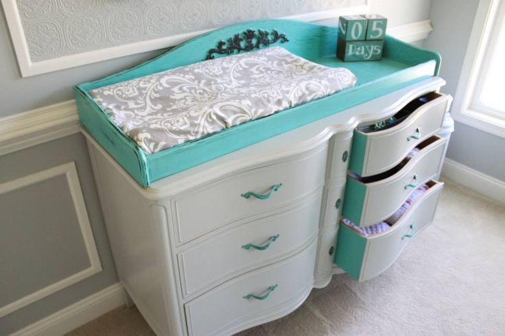 Refinished Vintage Changing Table Painted Teal - #nursery #vintage1950S Change, 1950S Furniture