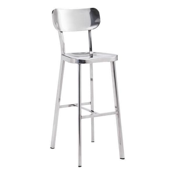 Modern simplicity as the Hiver Stainless Steel Bar Chair features pure stainless steel finishes that seamlessly flow from top to bottom, as classic oval back connected to slim perfectly molded seat and supported by sleek legs with sturdy footrest.