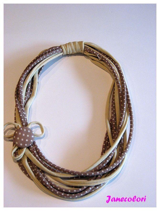 collana di stoffa riciclato con bottone rivestito, beige, a pois : Collane di janecolori-accessoires