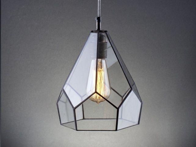 Edison ampul elmas lambası.  Modern iç mekanlar için cam endüstri lamba