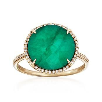 Ross-Simons - Emerald Triplet and .18 ct. t.w. Diamond Ring in 14kt Yellow Gold - #837177