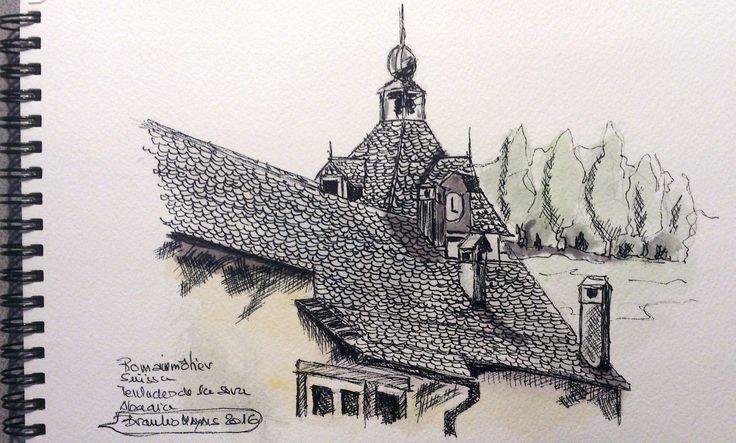 Apunte al natural del techo de la Abadia de Romainmôtier (Suiza)
