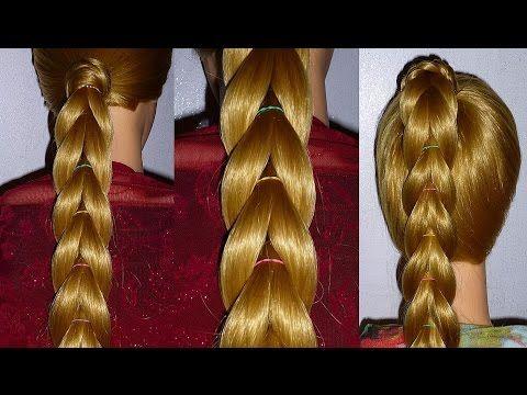 Простая Коса с помощью резинок.Причёска для средних, длинных волос.Плетение косичек для детей - YouTube