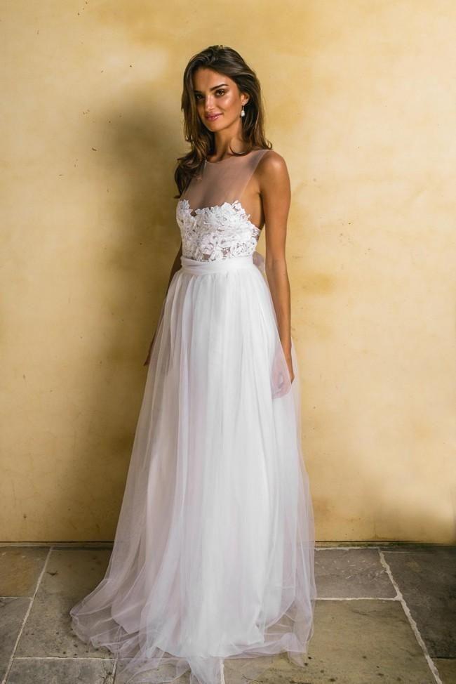 0f36341970 See-through Neckline Lace Tulle Bride Boho Wedding Dresses 2018 ...