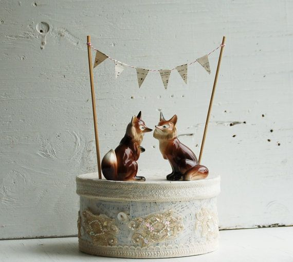 Adorable - Vintage FOX Wedding Cake Topper Woodland Wedding