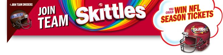 The SNICKERS® & SKITTLES® Super Bowl LII Rivalry 2018 Sweepstakes and Instant Win Game Promotion   Play everyday for your chance to win!  Which team are you on?     NO PURCHASE NECESSARY. Open to legal U.S. residents of the 48 contiguous US/DC, age 13 or older at time of entry. Promotion starts on or about noon ET on 12/11/17 and ends 11:59:59 p.m. ET on 2/28/18. For Official Rules, including how to enter, free method of entry, prize details, odds and other terms>