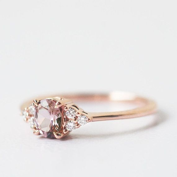 malaya garnet ring peach ring champagne ring peach #engagementrings