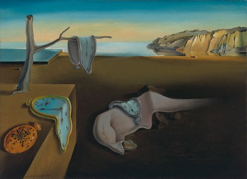 "Persistence of Memory: Time is the theme here, from the melting watches to the decay implied by the swarming ants. The monstrous fleshy creature draped across the paintings center is an approximation of Dalís own face in profile. Mastering what he called ""the usual paralyzing tricks of eye-fooling,"" Dalí painted this work with ""the most imperialist fury of precision,"" but only, he said, ""to systematize confusion and thus to help discredit completely the world of reality."""