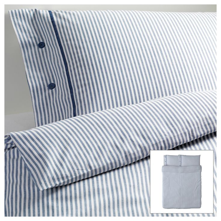 NYPONROS Duvet cover and pillowcase(s) - white/blue, Full/Queen (Double/Queen) - IKEA