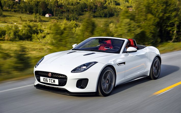 Herunterladen hintergrundbild jaguar f-type, 4k, bewegung, 2018 autos, straße, weiß f-type, supercars, jaguar