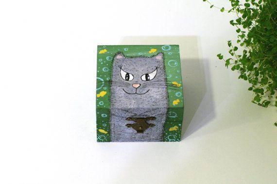 Trinket box for jewelry - Small storage box - Painted wooden jewelry box - Small jewelry box Cat wooden box for rings Hand painted jewelry box