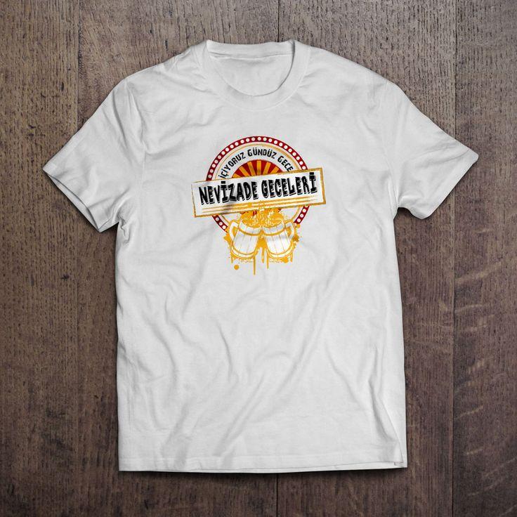 Beyaz kumaş üzerine dijital baskı Nevizade Geceleri T-Shirt 29,99TL