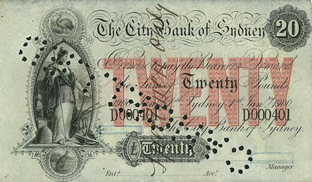 Museum of Australian Currency Notes: Preparing the Way 20 note Issued by the City Bank of Sydney