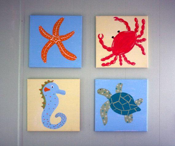 Sea Creatures Custom Canvas Paintings Starfish Crab Seahorse Sea Turtle 49 99 On