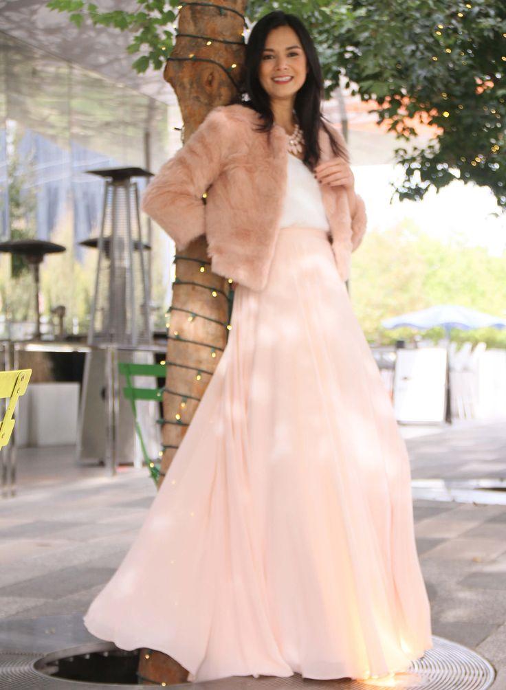 Keaton Chiffon Maxi Skirt in Blush by Love Tanya. Bridesmaid separates you can wear again.