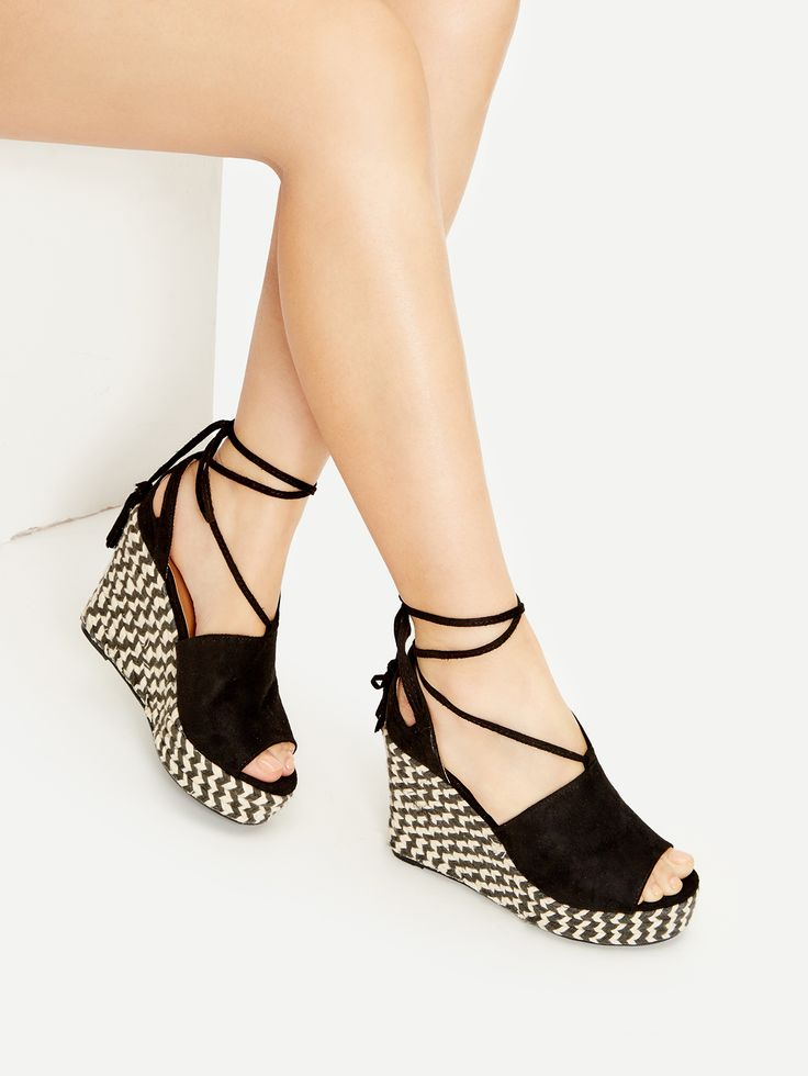 Shop Black Peep Toe Lace Up Wedge Sandals online. SheIn offers Black Peep Toe Lace Up Wedge Sandals & more to fit your fashionable needs.