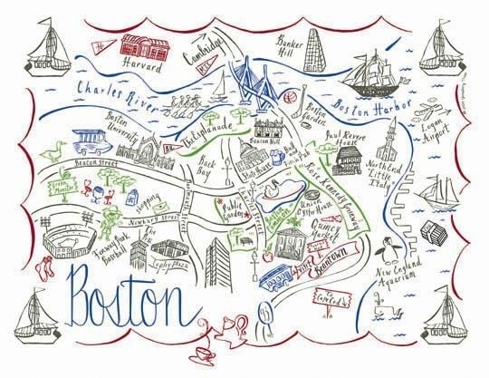 Boston City Map 4 Color Note Card | art and design | Boston map, Map on