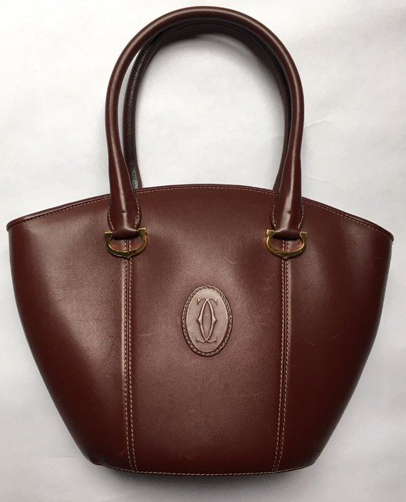 9418003edc1e Authentic Vintage 1980's/1990's Cartier Bordeaux Leather Top-Handle Handbag-  Must De Cartier - with