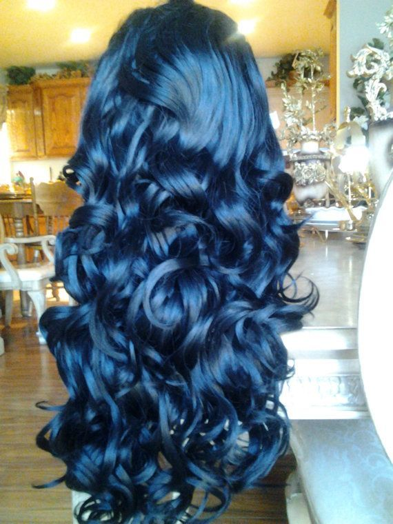 intense blue hair with a deep blue to light blue look